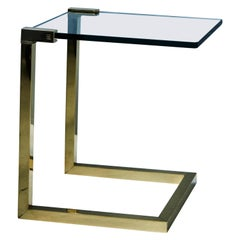 Late 20th Century Casted & Polished Brass 'Wil' T53C Glass Side Table