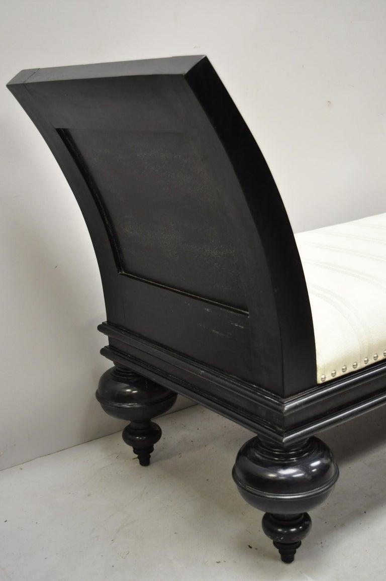 Hollywood Regency Italian Style Large Black Bun Feet Window Bench In Good Condition For Sale In Philadelphia, PA