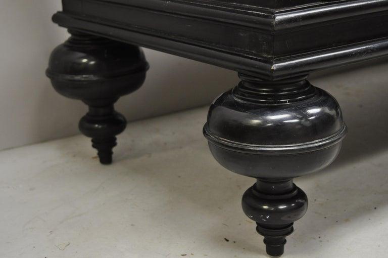 20th Century Hollywood Regency Italian Style Large Black Bun Feet Window Bench For Sale