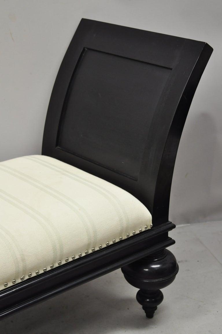 Burlap Hollywood Regency Italian Style Large Black Bun Feet Window Bench For Sale
