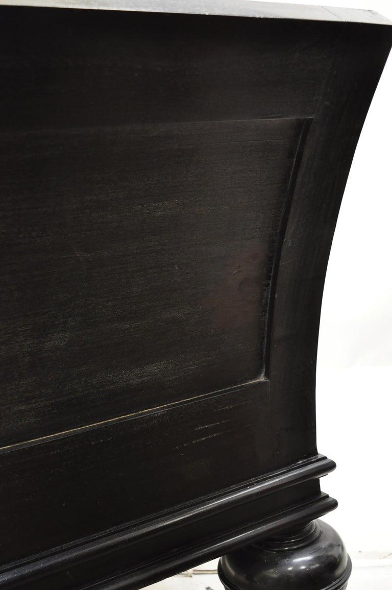 Hollywood Regency Italian Style Large Black Bun Feet Window Bench For Sale 1
