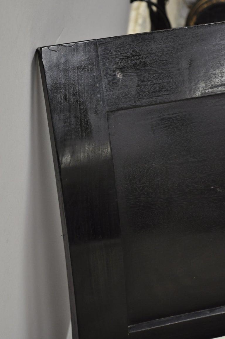 Hollywood Regency Italian Style Large Black Bun Feet Window Bench For Sale 2