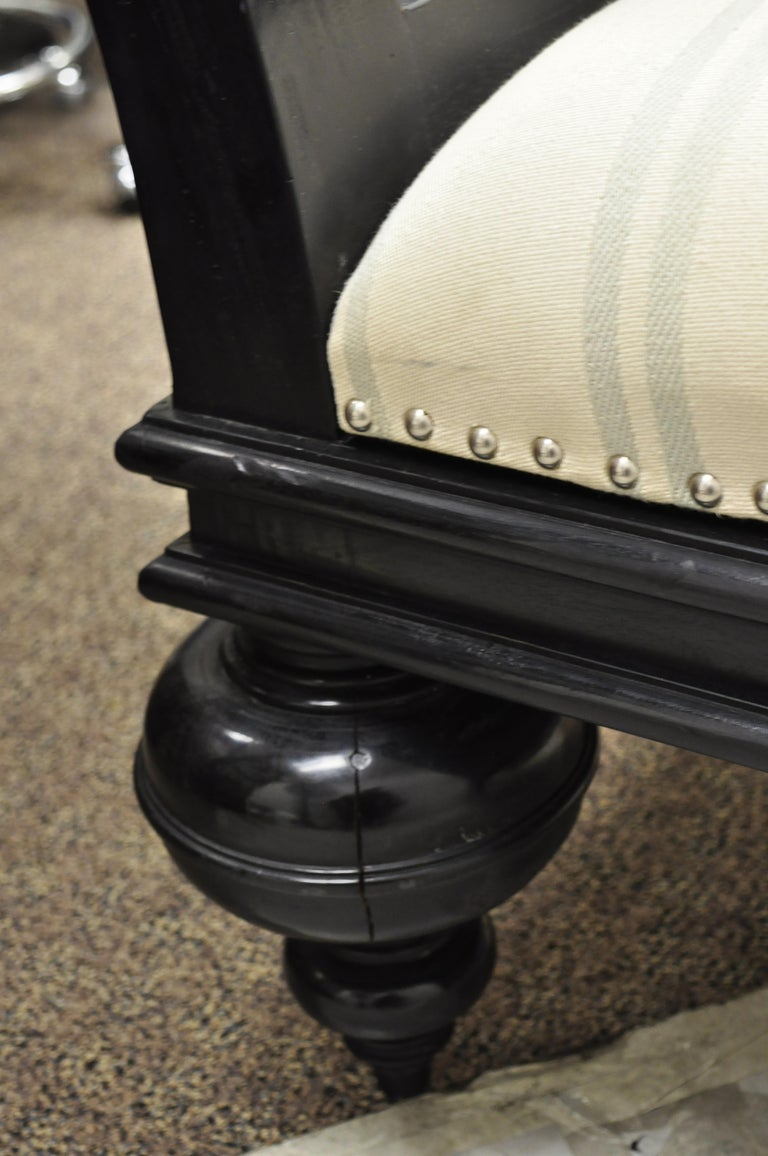 Hollywood Regency Italian Style Large Black Bun Feet Window Bench For Sale 3