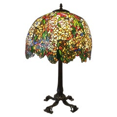 Late 20th C Large Tiffany Style Table Lamp with Great Bronze Base