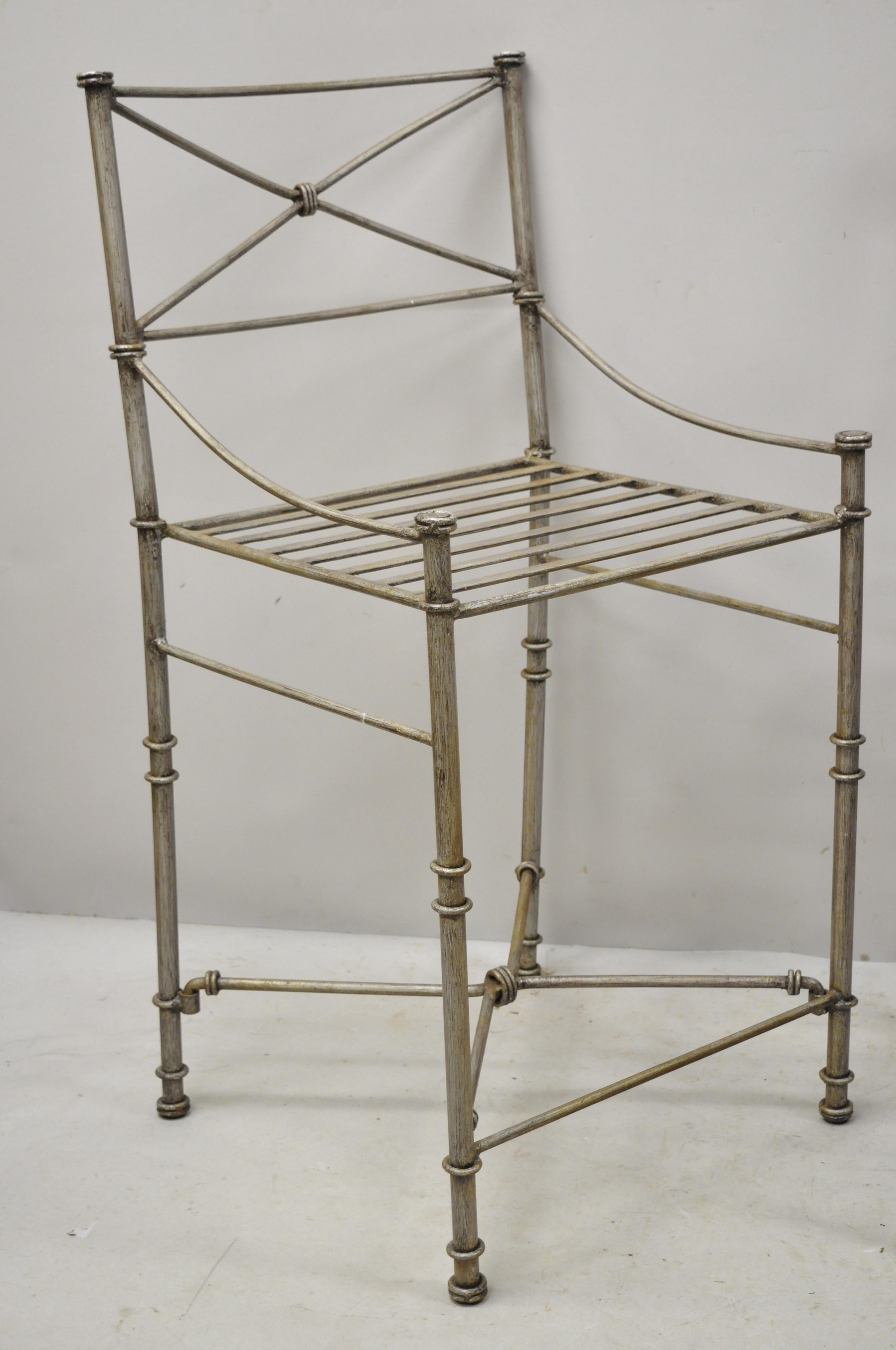 Late 20th Century Pier 1 Medici Pewter Wrought Iron Counter Bar Stools Set Of 3 At 1stdibs