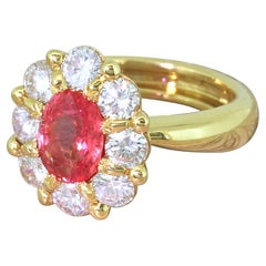Late 20th Century 1.63 Carat Padparadscha Sapphire & Diamond 18 Karat Gold Ring