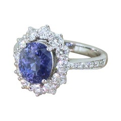 Late 20th Century 3.42 Carat Natural Sapphire and Diamond Cluster Ring