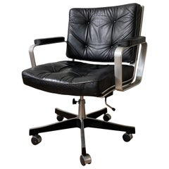 Late 20th Century Aluminum and Leather Office Chair by Karl Ekselius FINAL SALE