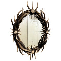 Late 20th Century Antler Wall Mirror with Antique Glass