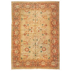 Late 20th Century Beige Ivory Green Rust Room Size Rug Persian Sultanabad Design