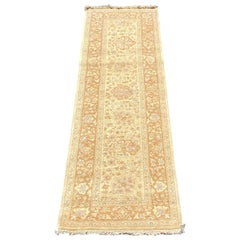 Late 20th Century Beige Maize Floral Persian Style Narrow Runner Rug