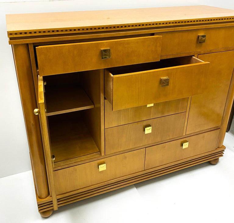 American Late 20th Century Biedermeier Style Satinwood Chest by Hickory White Furniture For Sale