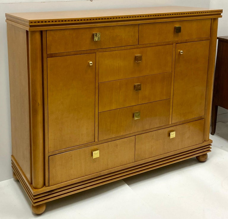 Brass Late 20th Century Biedermeier Style Satinwood Chest by Hickory White Furniture For Sale