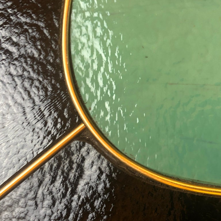 Late 20th Century Black, Green & Cream Murano Glass & Brass Set of Coffee Tables For Sale 12