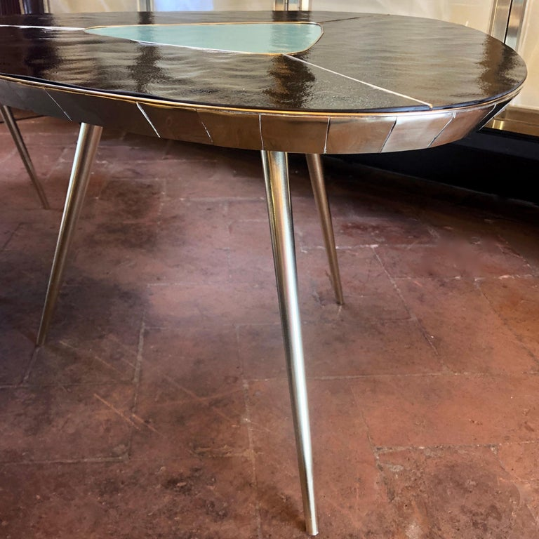 Late 20th Century Black, Green & Cream Murano Glass & Brass Set of Coffee Tables For Sale 13
