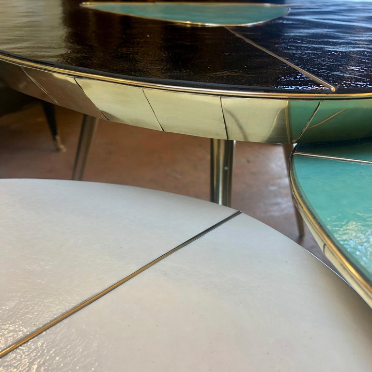 Late 20th Century Black, Green & Cream Murano Glass & Brass Set of Coffee Tables For Sale 3