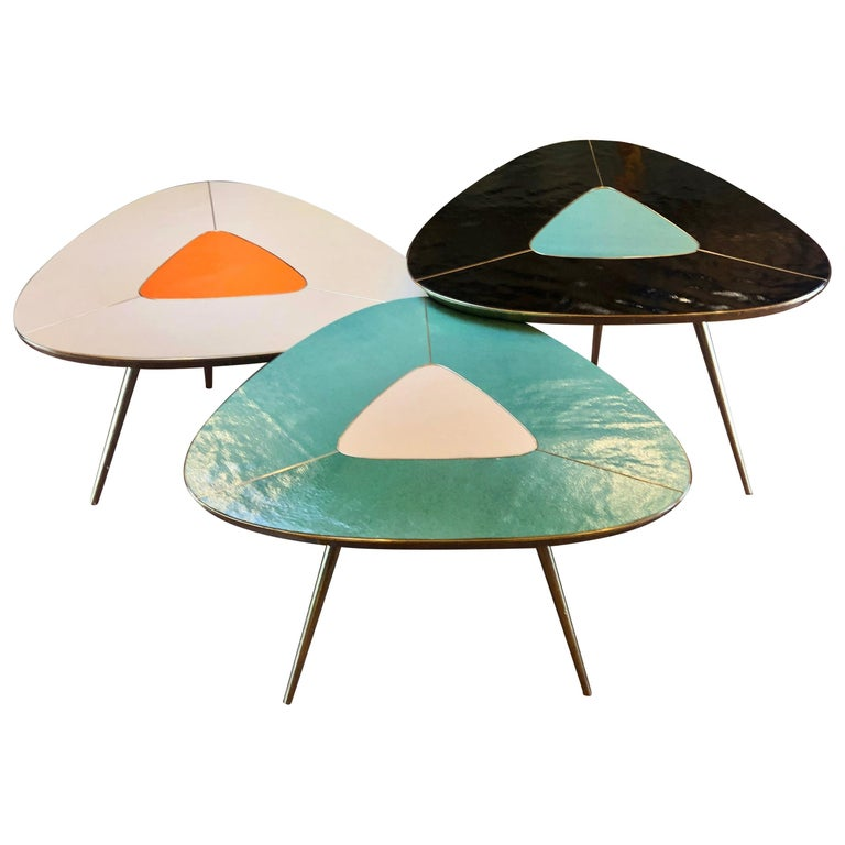 Late 20th Century Black, Green & Cream Murano Glass & Brass Set of Coffee Tables For Sale