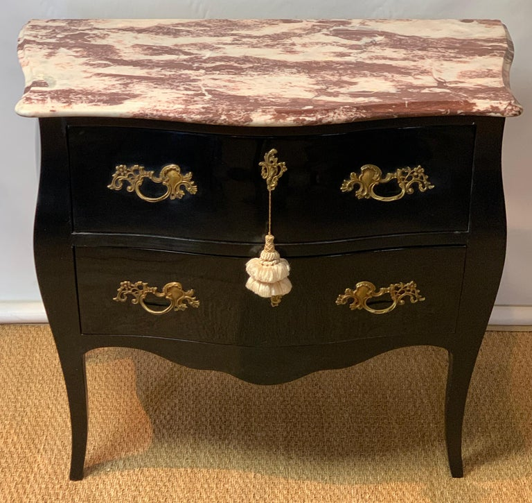 Louis XVI Late 20th Century Black Lacquer Bombe´ Commode For Sale