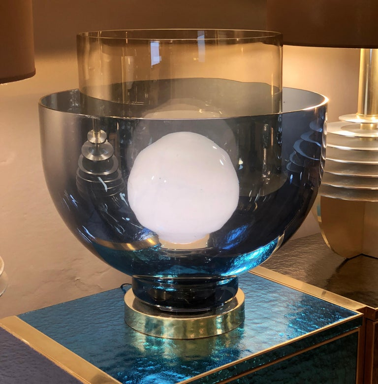 Late 20th Century Blue, Smoke and White Blown Murano Glass Table Lamp For Sale 5