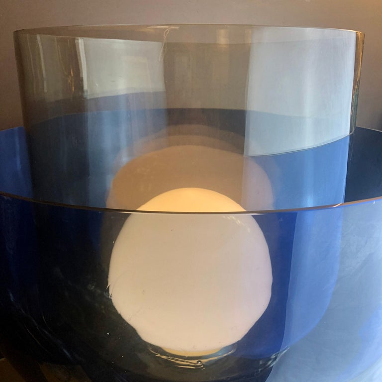 Late 20th Century Blue, Smoke and White Blown Murano Glass Table Lamp For Sale 3