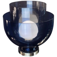 Late 20th Century Blue, Smoke and White Blown Murano Glass Table Lamp