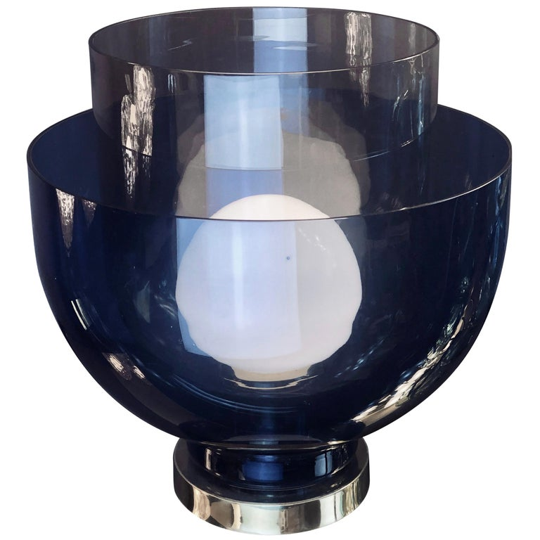 Late 20th Century Blue, Smoke and White Blown Murano Glass Table Lamp For Sale