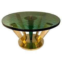 Late 20th Century Brass & Green Molten Murano Glass Coffee Table