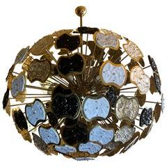 Late 20th Century Brass & Multi-Color Murano Glass Sputnik Chandelier by Vistosi
