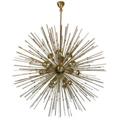 Late 20th Century Brass Sputnik Chandelier with Transparent Trihedron Glasses
