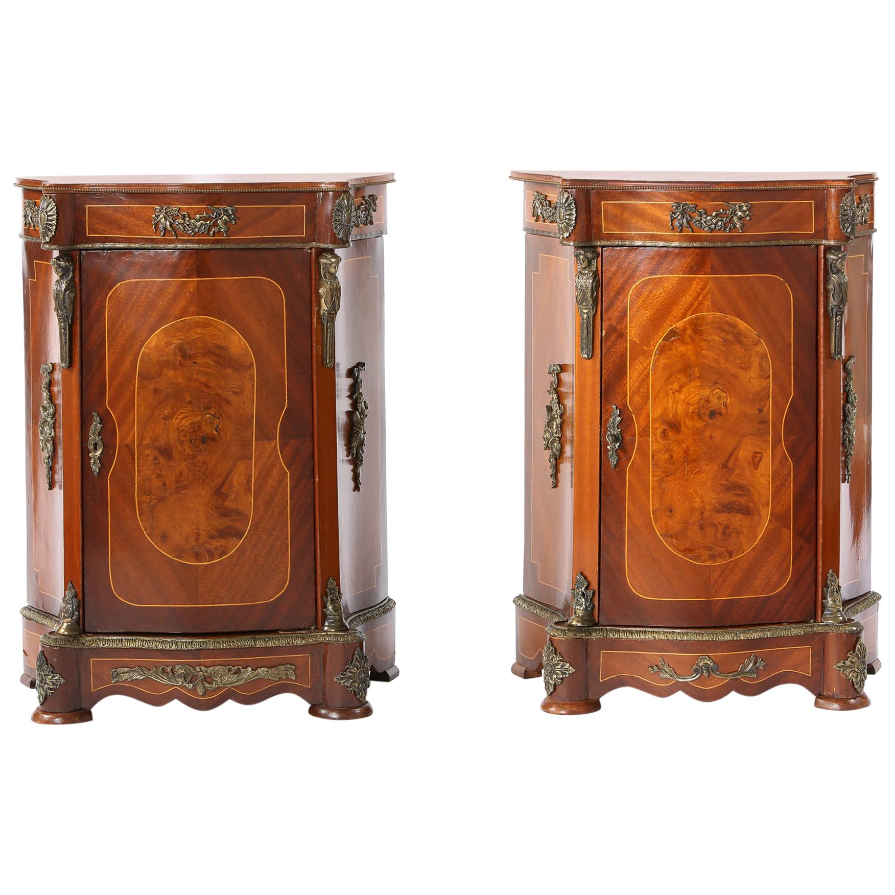 Late 20th Century Bronze Mounted Pair of Bow Front End Tables