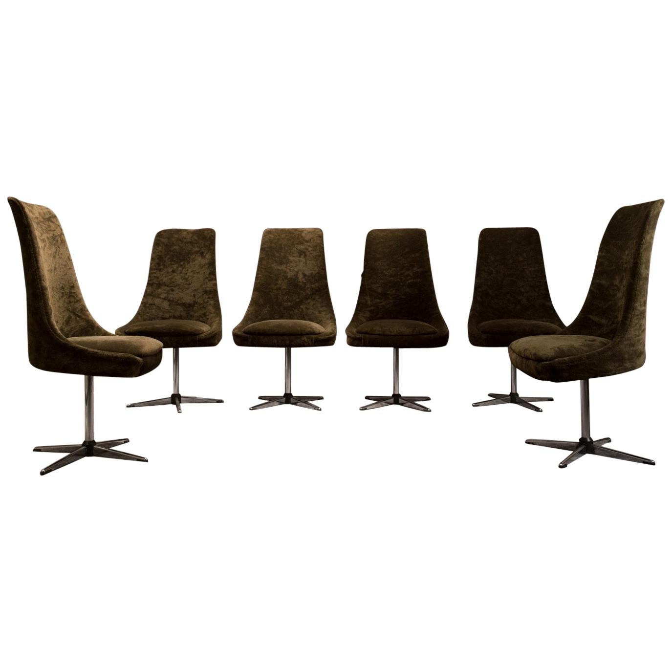Late 20th Century Brown and Steel Italian Set of Six Swivel Chairs