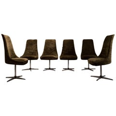 Late 20th Century Brown and Steel Italian Set of Six Swivel Chairs, 1970