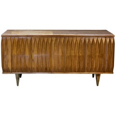 Late 20th Century Brutalist Oak Credenza with Travertine Top and Brass Feet