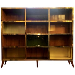 Late 20th Century Cherry Wood, Brass & Multi-Color Murano Opaline Glass Bookcase