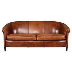 Late 20th Century Dutch Three-Seat Sheepskin Leather Sofa