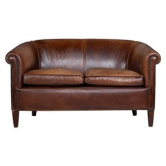 Late 20th Century Dutch Two-Seat Leather Sofa, circa 1970