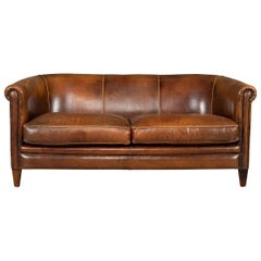 Late 20th Century Dutch Two-Seat Tan Leather Sofa