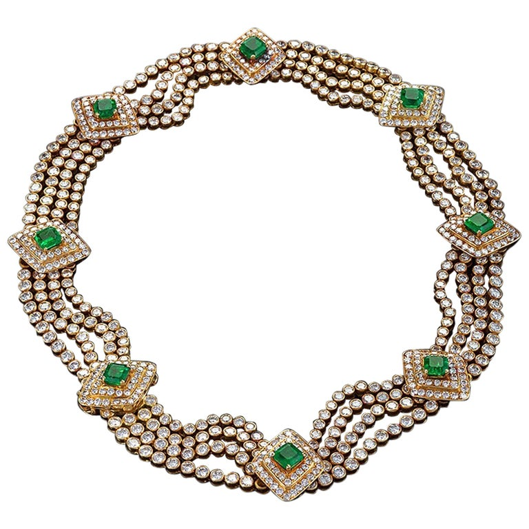 Late 20th Century Emerald Diamond Gold Necklace