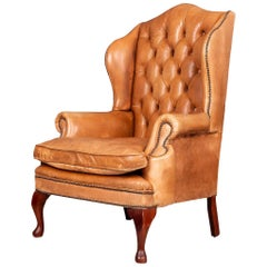 Late 20th Century English Leather Wing Back Chair, circa 1980