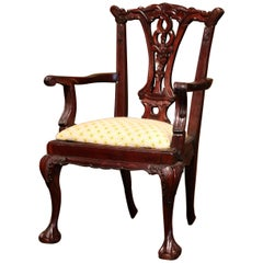 Late 20th Century English Queen Ann Carved Mahogany Child Armchair