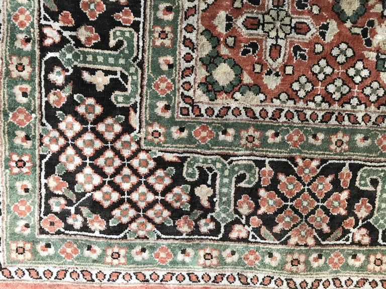 Late 20th Century Fine Chinese Silk Rug Persian Style For Sale At