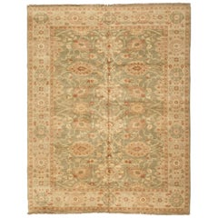 Late 20th Century Floral Green and Ivory Egyptian Rug Persian Design