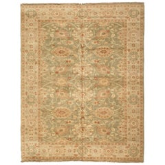 Late 20th Century Floral Green Ivory Egyptian Rug Persian Design Small Area Rug