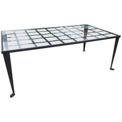 Late 20th Century Forged Iron and Glass Coffee Table by La Forge Francaise