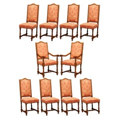 Late 20th Century French Carved Cherry Dining Room Set, 8 Chairs 2 Armchairs