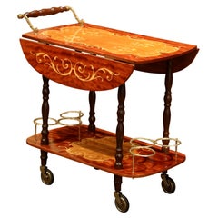 Late 20th Century French Rosewood and Brass Drop-Leaf Tea Cart with Marquetry