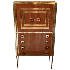 Late 20th Century French Striped Wood and Brass Cabinet with Four Drawers