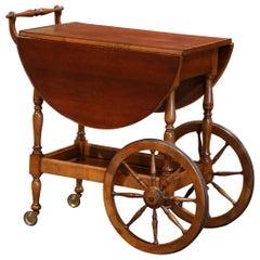 Late 20th Century French Walnut Drop-Leaf Tea Trolley Service Cart on Wheels