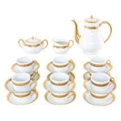 Haviland Limoges Gilt Porcelain Coffee / Tea Service for 12