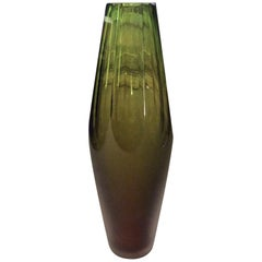 Late 20th Century Green Faceted Murano Glass Vase by Vivarini